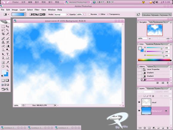 要点:海天无界 先看一下效果:  我们先来做云层好了 在通道面板里新建一个alpha通道  然后条件对比度,这样,云的选区就轻松的制作出来咯! 详细调节,请看下一步!  载入alpha1的选区,并在图层面板新建图层,填充白色  调节好前后背景色,并用渐变工具拖出一个渐变。需要注意的是,蓝色占的比例比淡蓝色更多些!  链接图层,并执行透视变形  为云图层稍微增加点儿图层样式  把图层再压缩一下  调节好前景色为近海岸色,背景色为深海洋 色。 做渐变,注意一下渐变颜色的比例哦!绝对不可忽视掉!  现